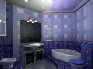 плитка на стенах фиолетовая