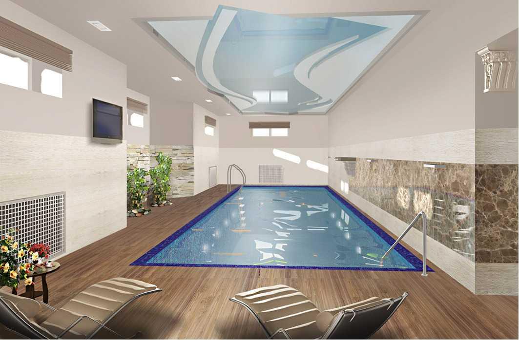 дизайн оформления бассейна внутри дома