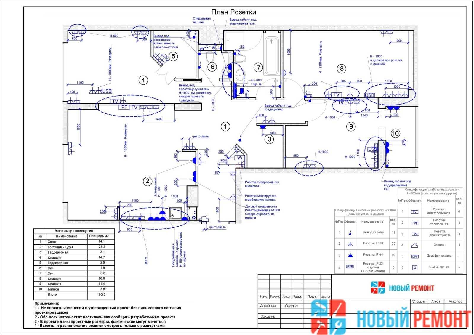 план розеток и выключателей в трехкомнатной квартире