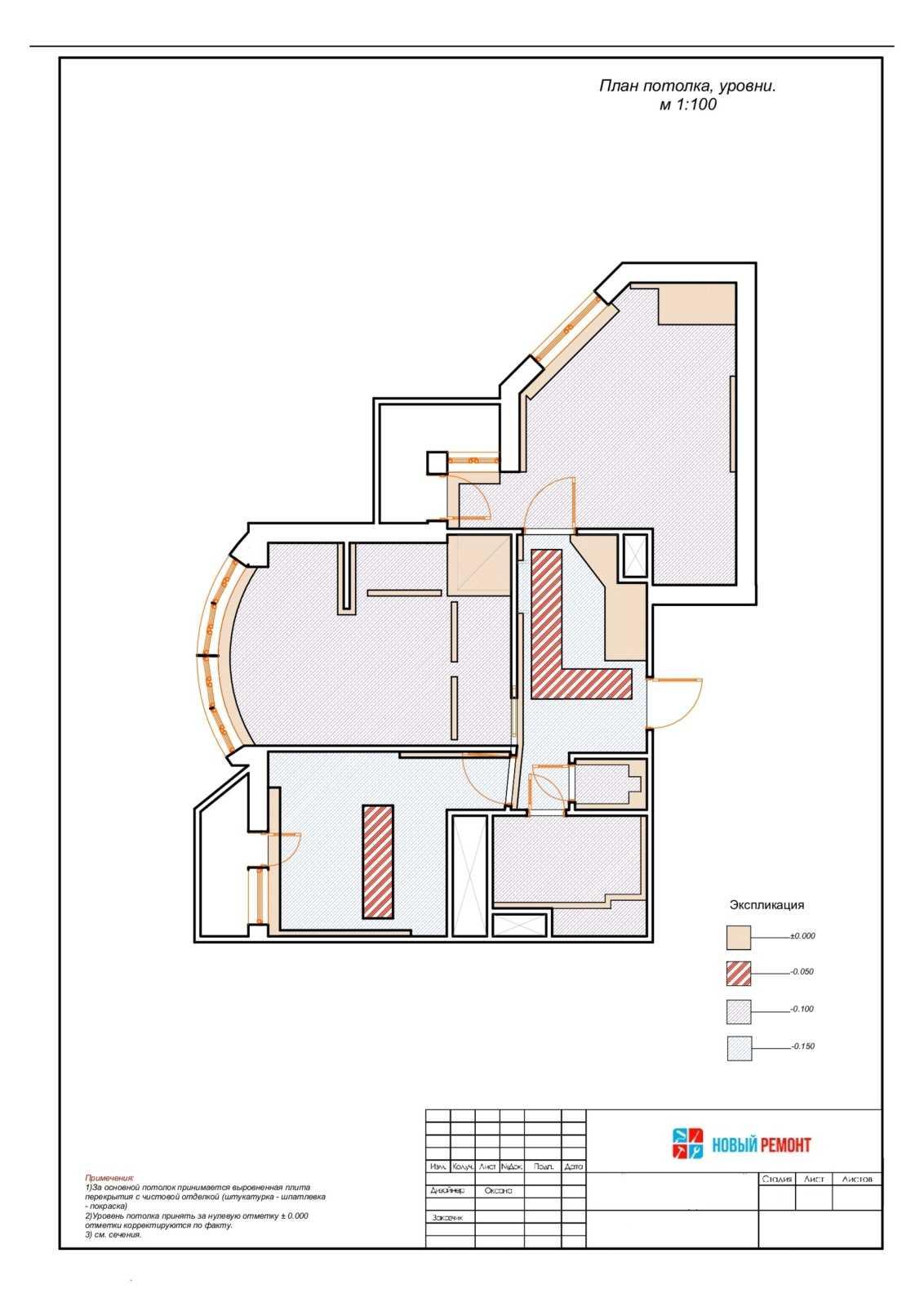 план потолков в двухкомнатной квартире