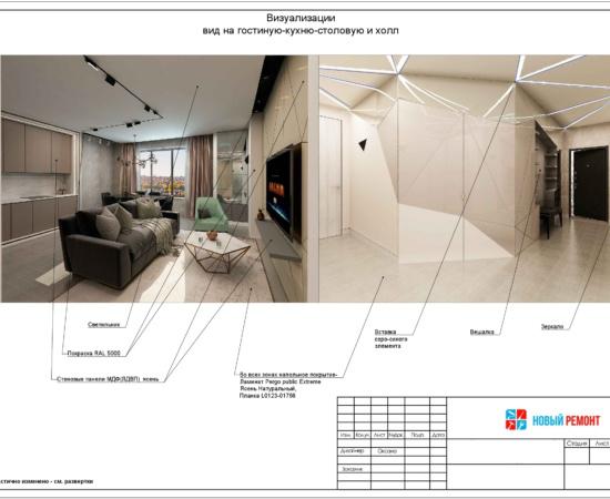 визуализация трехкомнатной квартиры
