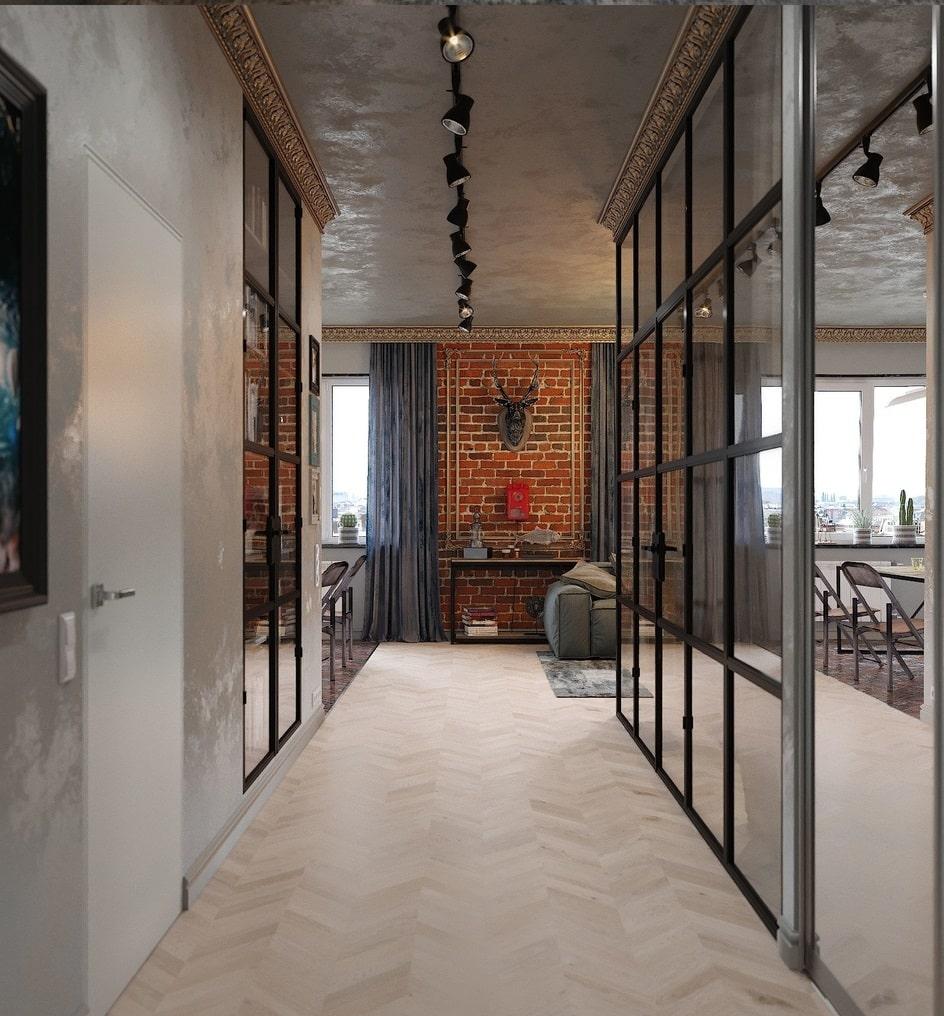 дизайн коридора в квартире стиля лофт