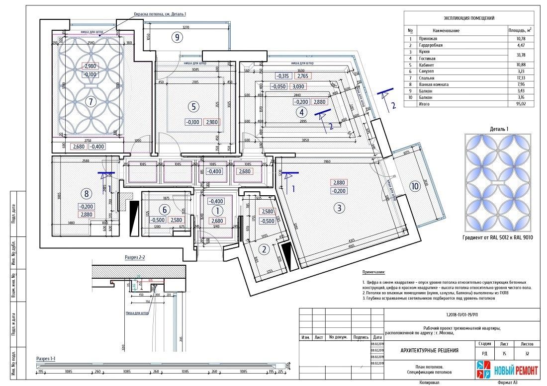 Пример плана потолков